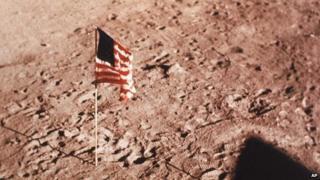 US flag on Moon