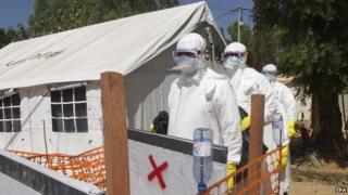 Health workers at an Ebola isolation centre in Bamako in Mali on 11 November 2014