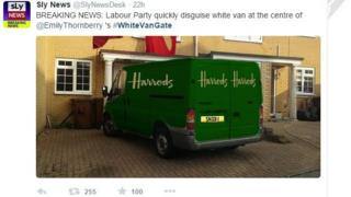 Doctored image to show Harrods van parked outside Rochester house