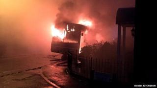 Bus fire in Great Offley