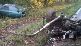 Wreckage of the car