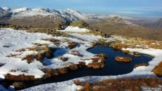 View of Crinkle Crags, Scafell and Bowfell