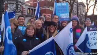 Midwives striking in central Manchester