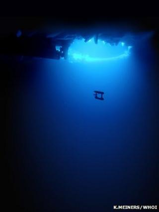 AUV seen under the Sea Ice