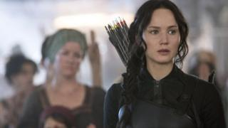 Jennifer Lawrence as Katniss Everdeen in Hunger Games: Mockingjay - Part 1
