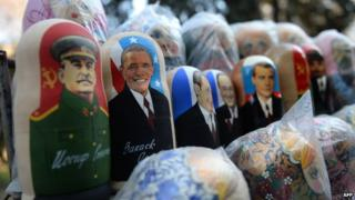 Russian dolls featuring Stalin, Barack Obama and other current or former world leaders on sale at a market in the Moldovan capital, Chisinau.
