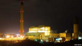 Peterhead Power Station at night