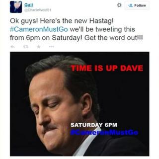 Tweet announcing start of hashtag campaign