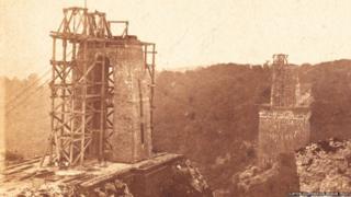 Clifton Suspension Bridge under construction
