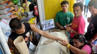 A rice market in Manila