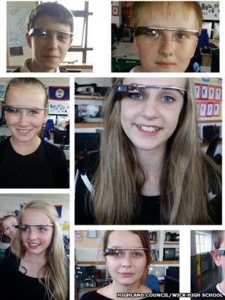 Wick High School pupils wearing Google Glass