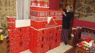 Catherine Weightman with Durham Cathedral Lego model