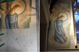 Mary before and after restoration