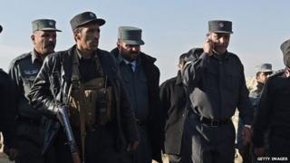 Kabul's police chief Zahir Zahir speaking on a telephone (November 2014)