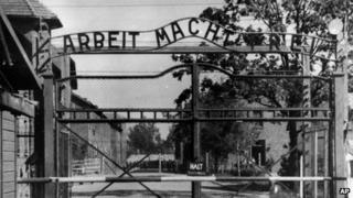 The main gate of the Auschwitz death camp complex in occupied-Poland