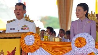 Thailand's Crown Prince Vajiralongkorn and Princess Srirasmi (13 May 2010)