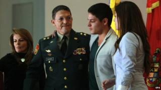 Gen Alzate and his family as he offers his resignation