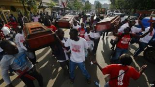 Demonstrations in Kenya to call for greater security following a string of attacks by al-Shabab, 26 November 2014