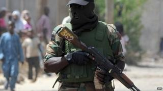 Nigerian security forces on patrol
