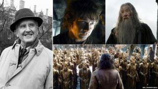 Composite of Tolkien and Bilbo and Gandalf in the Hobbit, plus Elvish army