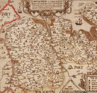 17th century map of Lancashire