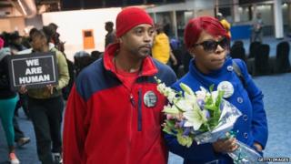 Michael Brown's mother Lesley McSpadden (right) and stepfather Louis Head appeared in St Louis, Missouri, on 14 November 2014