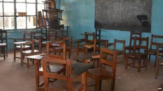 An empty classroom at a high school in Liberia's port city of Buchanan (4 October 2014)