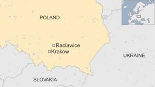 Map showing Raclawice in Poland