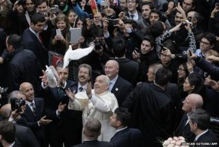 Pope Francis frees doves upon arrival at the Istanbul's Holy Spirit Cathedral