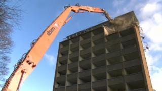 Demolition work at Peterborough District Hospital