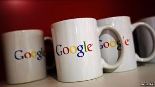 Google logo on mugs