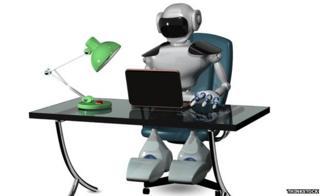Robot at computer