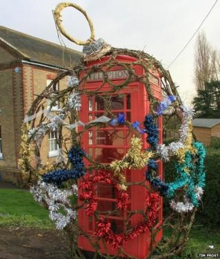 Decorated phone box