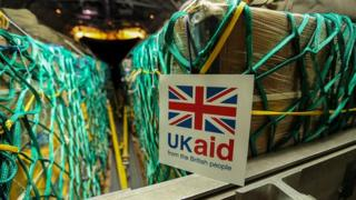 British humanitarian aid being loaded onto a RAF Hercules C130 at RAF Brize Norton for Iraq