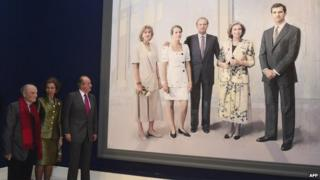 Artist Antonio Lopez with former Spanish King Juan Carlos and Queen Sofia in front of the painting