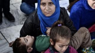 Syrian refugees living in Greece protest on Syntagma square on 19 November 2014 in Athens,