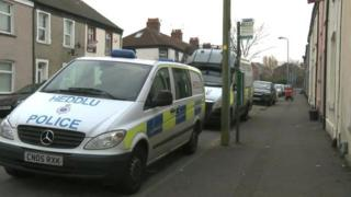 Police vehicles in Kent Street, Grangetown