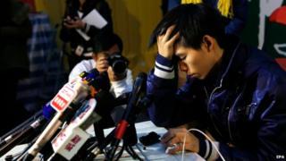 Joshua Wong at press conference