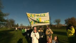 Hitchin Town FC protest march begins