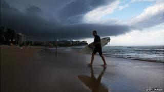 Storm clouds gather over Manly Beach, Sydney. 7 Dec 2014