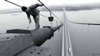 Humber Bridge being painted