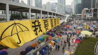 A general view of the Admiralty camp, occupied by pro-democracy supporters of Occupy Central and the Umbrella Movement for over two months, as seen on the final day before the Hong Kong police and bailiffs intend to clear the major six lane highway back to normal, Hong Kong, China, 10 December 2014.