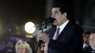 Venezuelan President Nicolas Maduro delivers a speech during the commemoration of the 190 years of the Battle of Ayacucho in Caracas on 9 December, 2014.