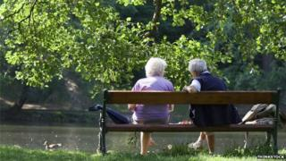 pensioners on bench