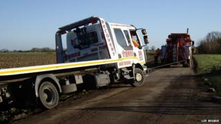 Recovery lorry being recovered