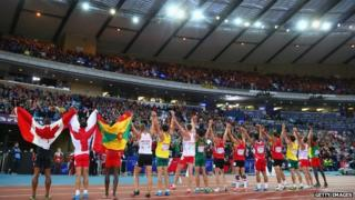 Athletes salute the Commonwealth Games crowd in Glasgow