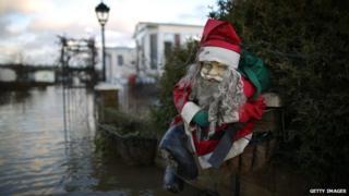 Flooded caravans in Yalding, Kent