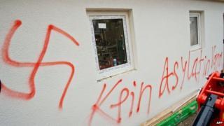 Neo-Nazi graffiti daubed on a building in Vorra,