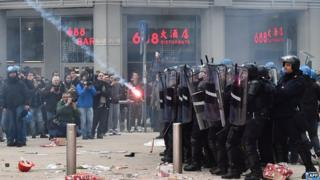 Riot police in Milan during protest, 12 Dec 14
