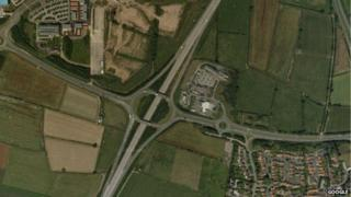 An aerial view of the A19 and A689 junction